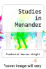 cover of Studies in Menander