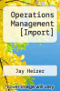 cover of Operations Management [Import]