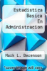 cover of Estadistica Basica En Administracion